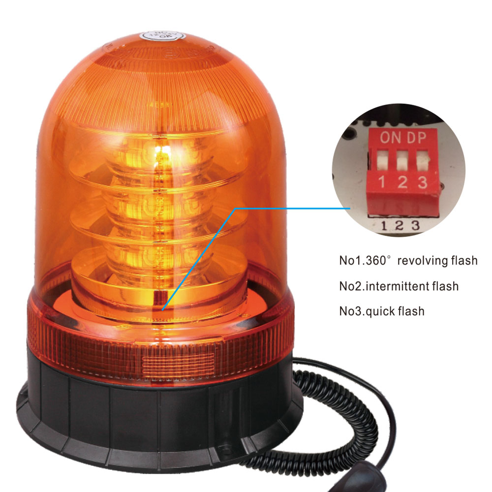 SMD LED Beacon Warning Light For Multi-Purpose Vehicle 24W 12V/24V Yellow With Single-Bolt IP66 CE E9 #S807